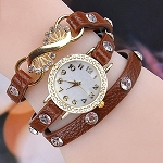Fashion Rhinestone Wrap Leather Bracelet Quartz Wrist Watch